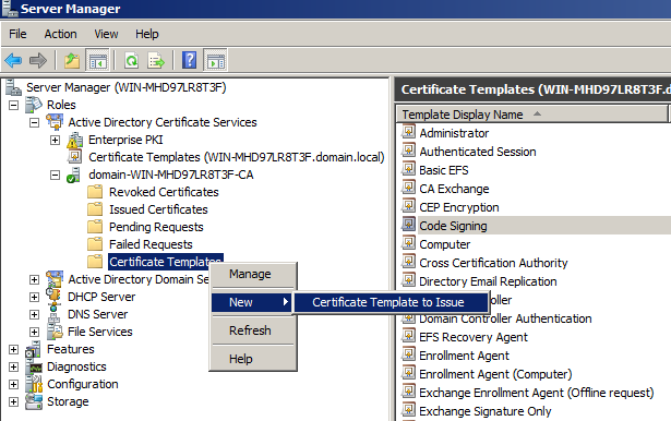 Связать сертификаты на сервере